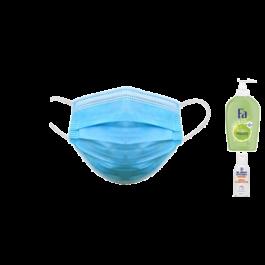 Vorrats-Set für die kalte Jahreszeit: 100 x Mund-Nasen-Schutzmasken + 1 x Hygieneseife + 1 x 100ml Handdesinfektion