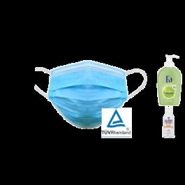 Vorrats-Set:100 x OP-Masken + 1 x Hygieneseife + 1 x 100ml Handdesinfektion
